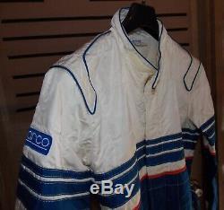 1986 Sparco Racing Suit White Blue Nomex Italian Size 54 Vintage Porsche Ferrari