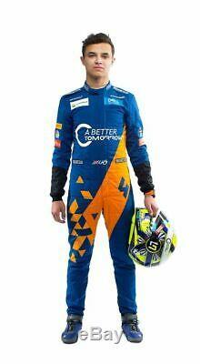 McLaren F1 Team 2019 sparco Printed Go Kart Racing suit, Kids/Adult Sizes