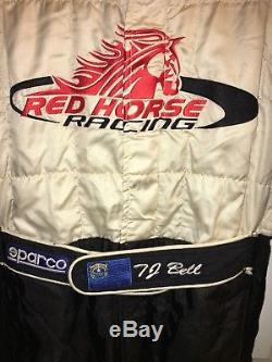 SPARCO Nascar DRIVER Fire Suit TJ BELL SFI RED HORSE RACING TOYOTA LG 32W x 32L