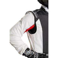 Sparco 001128SFB52BINR Competition Racing Suit, White, Size 52