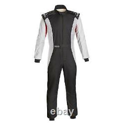 Sparco 001128SFB58BINR Competition Racing Suit, White, Size 58