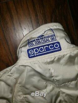 Sparco Racing Fire Suit White Race Drag Dirt Cart Size 60 XL
