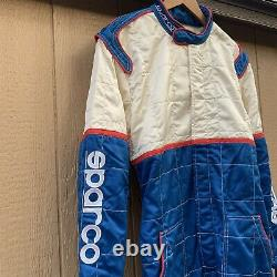 Sparco Racing Race Team Suit White/Blue Size 58 Vtg Coverall Flame Resistant