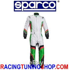 TUTA KART SPARCO X-LIGHT KS7 cik FIA 2016/2021 KARTING SUIT SIZE 54 WHITE GREEN