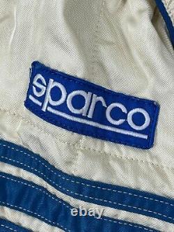 Vintage 80's SPARCO Blue White Coverall Racing Race Team Suit + Shirt Sz 56